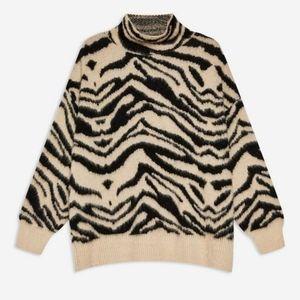 Topshop Moving Zebra Funnel Neck Jumper Sweater